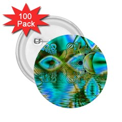 Crystal Gold Peacock, Abstract Mystical Lake 2.25  Button (100 pack)