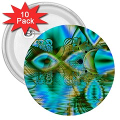 Crystal Gold Peacock, Abstract Mystical Lake 3  Button (10 pack)