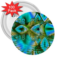 Crystal Gold Peacock, Abstract Mystical Lake 3  Button (100 pack)