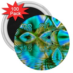 Crystal Gold Peacock, Abstract Mystical Lake 3  Button Magnet (100 Pack)