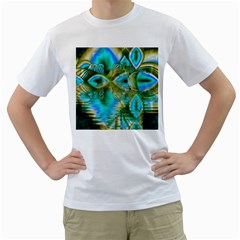 Crystal Gold Peacock, Abstract Mystical Lake Men s Two-sided T-shirt (White)
