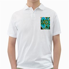Crystal Gold Peacock, Abstract Mystical Lake Men s Polo Shirt (white)