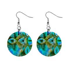 Crystal Gold Peacock, Abstract Mystical Lake Mini Button Earrings