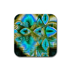 Crystal Gold Peacock, Abstract Mystical Lake Drink Coaster (Square)