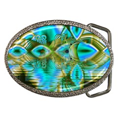 Crystal Gold Peacock, Abstract Mystical Lake Belt Buckle (oval)
