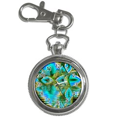 Crystal Gold Peacock, Abstract Mystical Lake Key Chain Watch