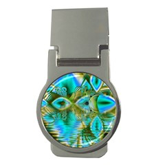 Crystal Gold Peacock, Abstract Mystical Lake Money Clip (Round)