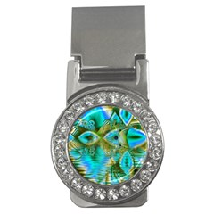 Crystal Gold Peacock, Abstract Mystical Lake Money Clip (CZ)