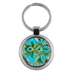 Crystal Gold Peacock, Abstract Mystical Lake Key Chain (Round)