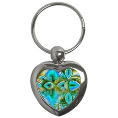 Crystal Gold Peacock, Abstract Mystical Lake Key Chain (Heart)