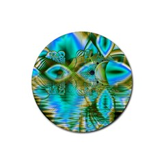 Crystal Gold Peacock, Abstract Mystical Lake Drink Coaster (Round)