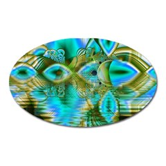 Crystal Gold Peacock, Abstract Mystical Lake Magnet (oval)
