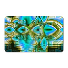 Crystal Gold Peacock, Abstract Mystical Lake Magnet (Rectangular)
