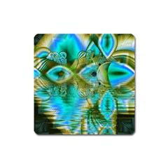 Crystal Gold Peacock, Abstract Mystical Lake Magnet (Square)