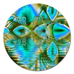 Crystal Gold Peacock, Abstract Mystical Lake Magnet 5  (Round)
