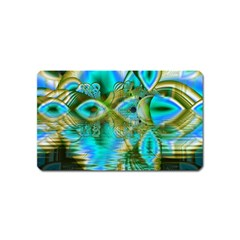 Crystal Gold Peacock, Abstract Mystical Lake Magnet (Name Card)