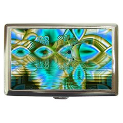 Crystal Gold Peacock, Abstract Mystical Lake Cigarette Money Case