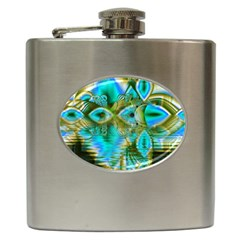 Crystal Gold Peacock, Abstract Mystical Lake Hip Flask