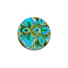 Crystal Gold Peacock, Abstract Mystical Lake Golf Ball Marker 10 Pack