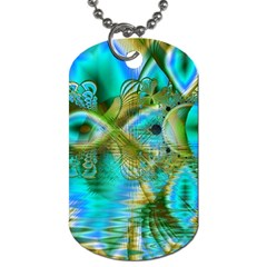 Crystal Gold Peacock, Abstract Mystical Lake Dog Tag (two Sided)