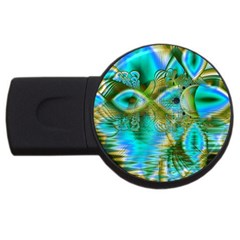 Crystal Gold Peacock, Abstract Mystical Lake 1GB USB Flash Drive (Round)