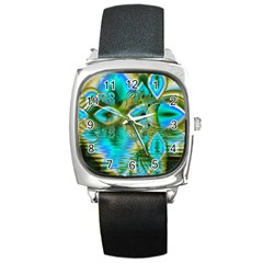 Crystal Gold Peacock, Abstract Mystical Lake Square Leather Watch