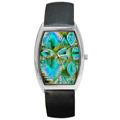 Crystal Gold Peacock, Abstract Mystical Lake Tonneau Leather Watch