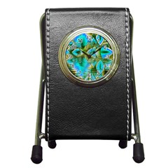 Crystal Gold Peacock, Abstract Mystical Lake Stationery Holder Clock