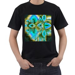 Crystal Gold Peacock, Abstract Mystical Lake Men s Two Sided T-shirt (Black)