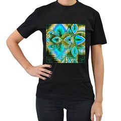 Crystal Gold Peacock, Abstract Mystical Lake Women s Two Sided T Shirt (black)