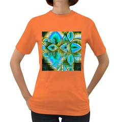Crystal Gold Peacock, Abstract Mystical Lake Women s T-shirt (Colored)