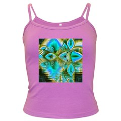 Crystal Gold Peacock, Abstract Mystical Lake Spaghetti Top (Colored)