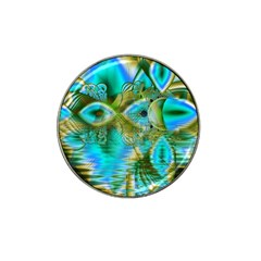 Crystal Gold Peacock, Abstract Mystical Lake Golf Ball Marker (for Hat Clip)