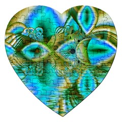 Crystal Gold Peacock, Abstract Mystical Lake Jigsaw Puzzle (heart)