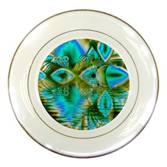 Crystal Gold Peacock, Abstract Mystical Lake Porcelain Display Plate