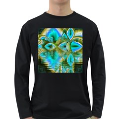 Crystal Gold Peacock, Abstract Mystical Lake Men s Long Sleeve T-shirt (Dark Colored)