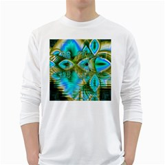 Crystal Gold Peacock, Abstract Mystical Lake Men s Long Sleeve T Shirt (white)