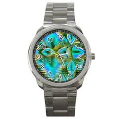 Crystal Gold Peacock, Abstract Mystical Lake Sport Metal Watch