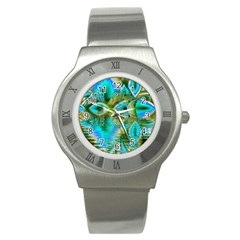 Crystal Gold Peacock, Abstract Mystical Lake Stainless Steel Watch (Slim)