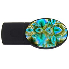 Crystal Gold Peacock, Abstract Mystical Lake 4GB USB Flash Drive (Oval)