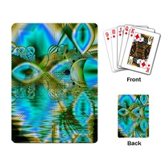 Crystal Gold Peacock, Abstract Mystical Lake Playing Cards Single Design