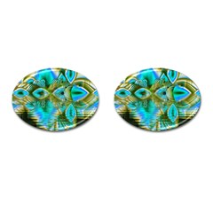 Crystal Gold Peacock, Abstract Mystical Lake Cufflinks (oval)