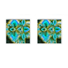 Crystal Gold Peacock, Abstract Mystical Lake Cufflinks (Square)