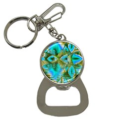 Crystal Gold Peacock, Abstract Mystical Lake Bottle Opener Key Chain
