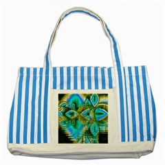 Crystal Gold Peacock, Abstract Mystical Lake Blue Striped Tote Bag