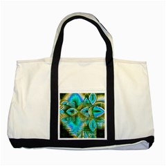 Crystal Gold Peacock, Abstract Mystical Lake Two Toned Tote Bag