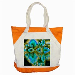 Crystal Gold Peacock, Abstract Mystical Lake Accent Tote Bag