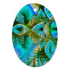 Crystal Gold Peacock, Abstract Mystical Lake Oval Ornament (Two Sides)