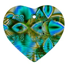Crystal Gold Peacock, Abstract Mystical Lake Heart Ornament (two Sides)