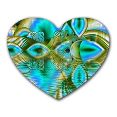 Crystal Gold Peacock, Abstract Mystical Lake Mouse Pad (heart)